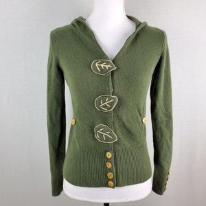 Knitted & Knotted Hooded Jacket Leaf Button Snap